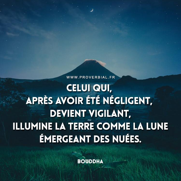 Celui qui, après avoir été négligent, devient vigilant, illumine la terre comme la lune émergeant des nuées.
