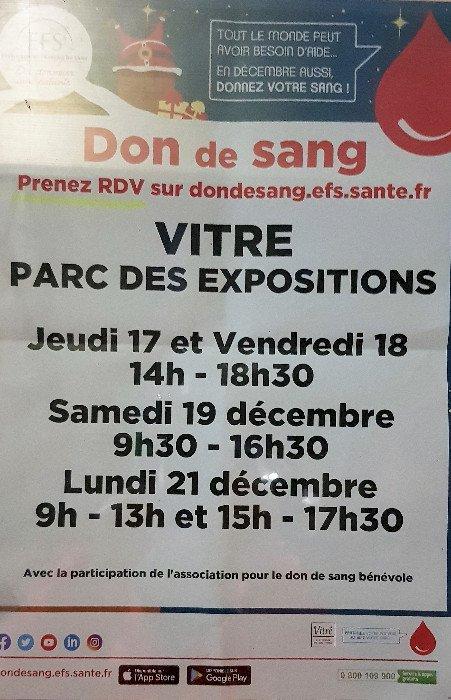 En Décembre, 4  Dates pour le Don du Sang