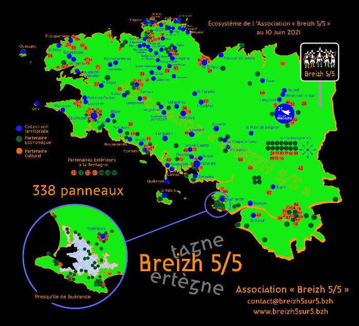 """L'écosystème de l'Association """"Breizh 5/5"""" au 10 juin 2021"""