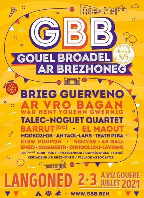 A l'Affiche … (51e) avec Gouel broadel ar Brezhoneg (GBB 2021) / Fête de la Langue Bretonne 2 et 3 juillet 2021 à Langonnet / Langoned