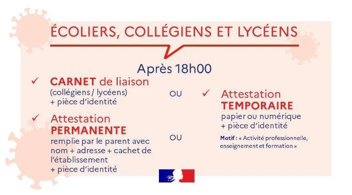 Parents, élèves, personnels éducatifs, quel document présenter après 18h ?