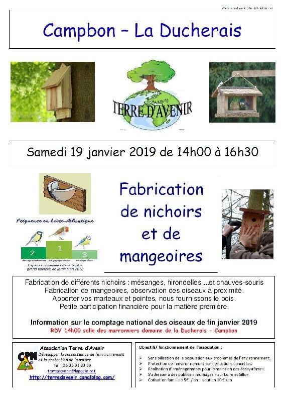 Fabrication de nichoirs et da mangoires avec Terre d'avenir