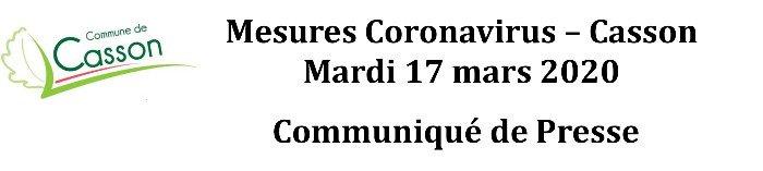 Communiqué de Presse - Mairie CASSON - du 17 mars 2020