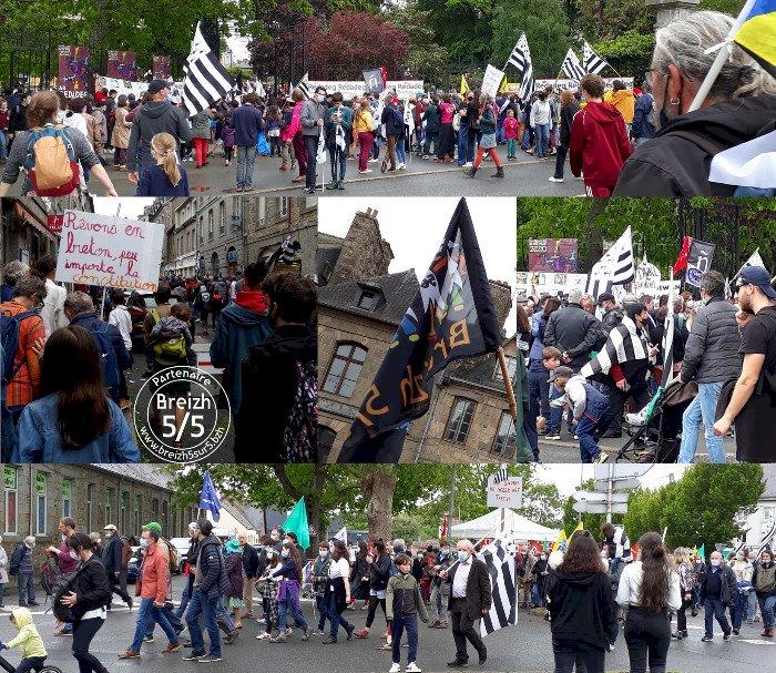 """Samedi 29 mai 2021 : Plus de 12.000 personnes se sont levées à Guingamp contre la loi """"moignon"""" dite Molac suite à son retoquage par le Conseil Constitutionnel"""