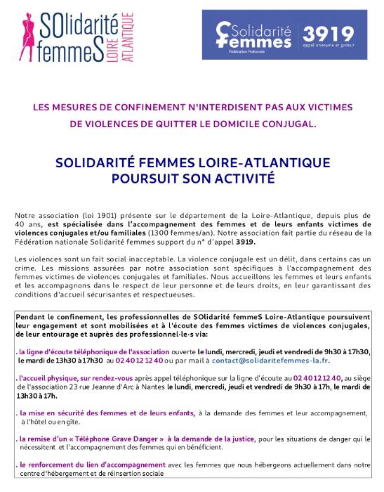 Solidarite Femmes Loire Atlantique