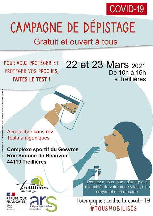 Campagne de dépistage Covid-19 à Treillières lundi 22 et mardi 23 mars