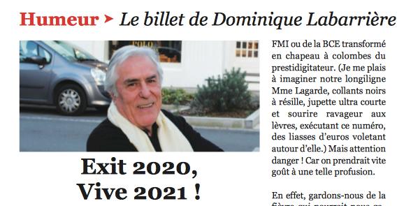 Le BILLET HUMEUR DE DOMINIQUE LABARRIERE