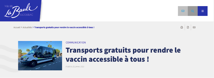 TRANSPORTS GRATUITS POUR RENDRE LE VACCINS ACCESSIBLE À TOUS !