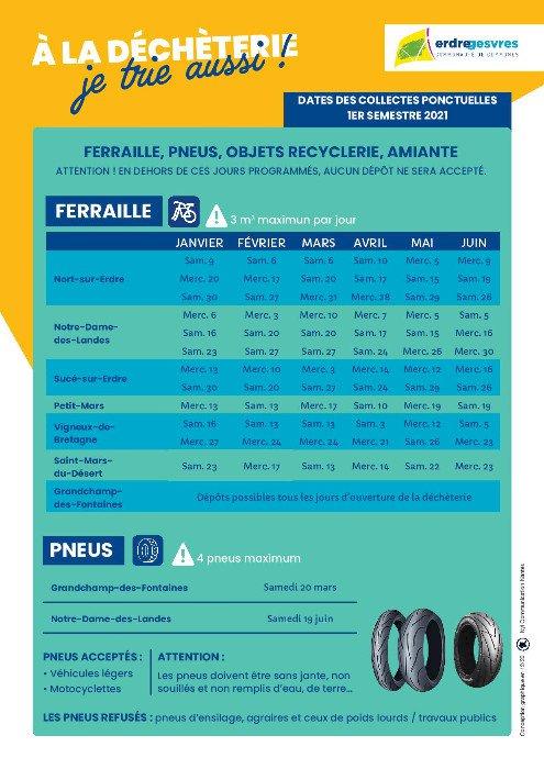 Décheteries : Dates de collecte ferraille, pneus, objets recyclerie et amiante