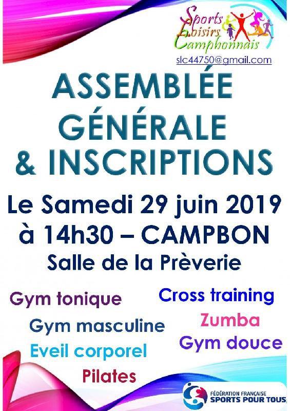 Assemblée Générale et Inscriptions Sports Loisirs Campbonnais
