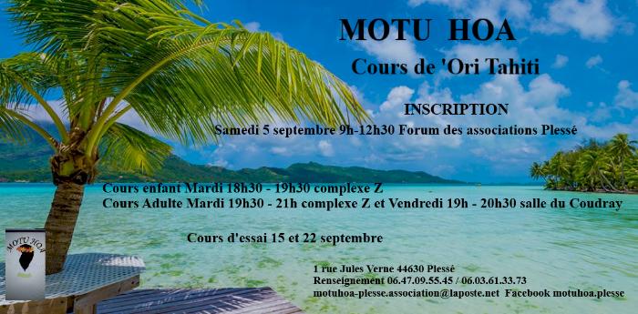 Inscription 'Ori Tahiti de l'association Motu Hoa à Plessé