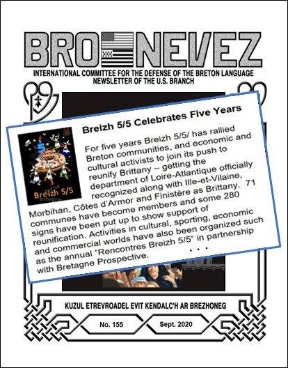 """""""Breizh 5/5 celebrates Five Years"""" dans le numéro 155 de septembre 2020 de """"Bro Nevez - International Commitee For The Defense of the Breton Language Newsletter of the U.S. Branch""""."""