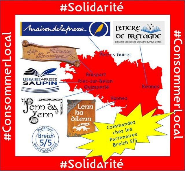 """Soutenons nos acteurs locaux :  Les librairies """"Breizh 5/5″ #Solidarité #ConsommerLocal #CircuitCourt"""
