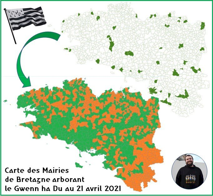 La carte des mairies arborant le Gwenn ha Du : Superbe travail collaboratif piloté par Etienne !