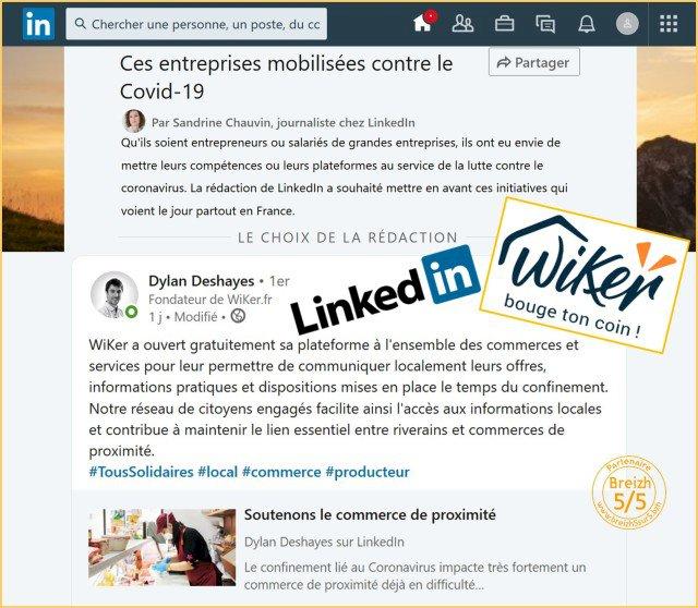 Actions de Wiker reconnues par LinkedIn !!!