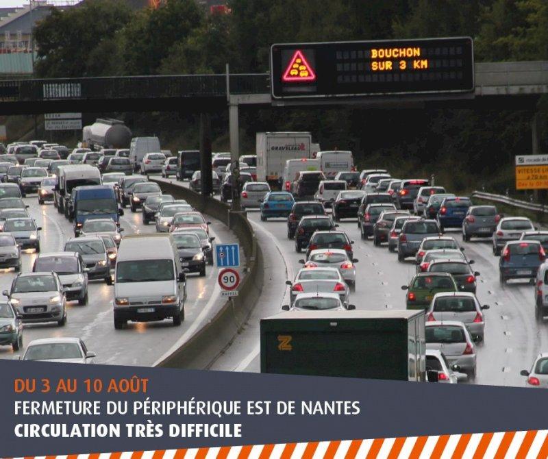 Périphérique : circulation difficile entre portes de Carquefou et d'Anjou.