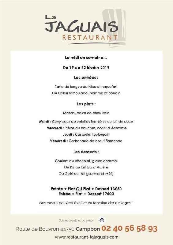 Au menu cette semaine - Restaurant La Jaguais