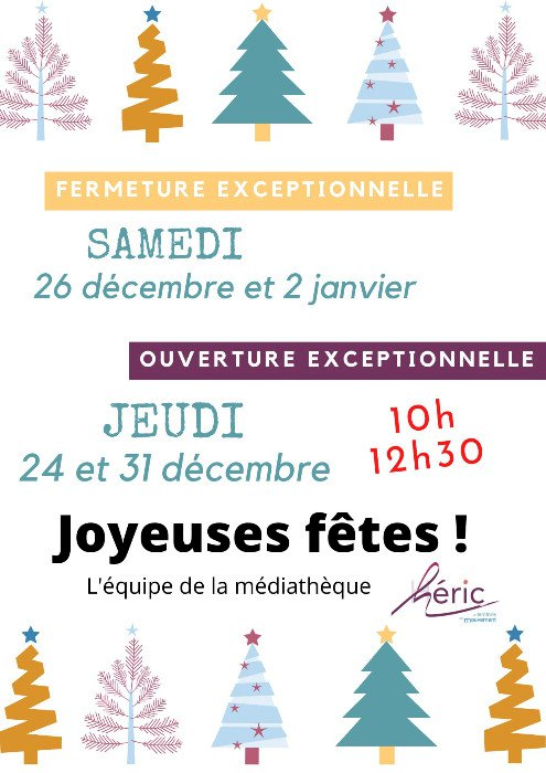 Médiathèque : Nouveaux Horaires pour les vacances de Noël