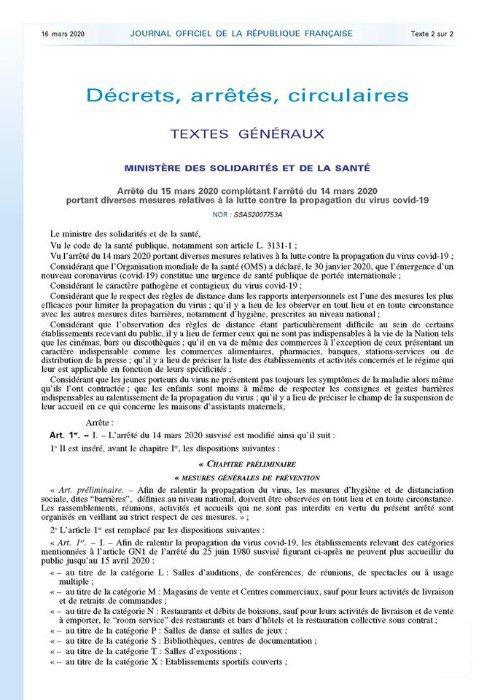 Mesures relatives à la lutte contre la propagation du Codiv 19