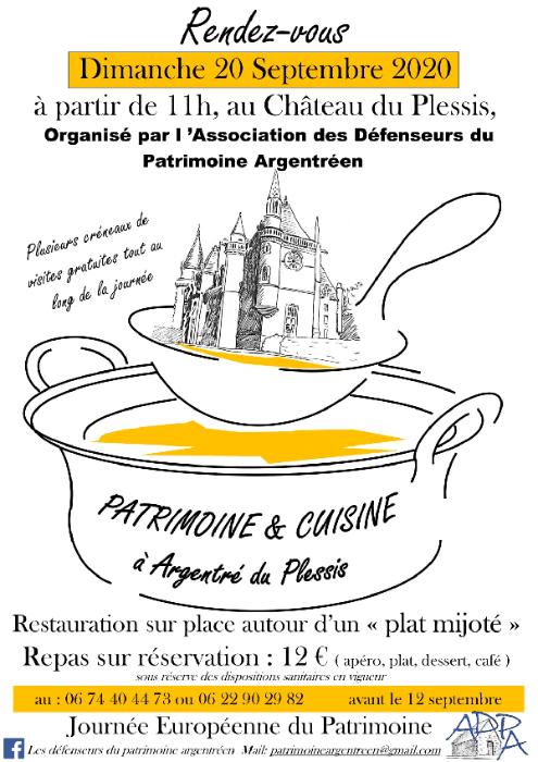 Patrimoine et cuisine - Dimanche à partir de 11h. Repas sur réservation: