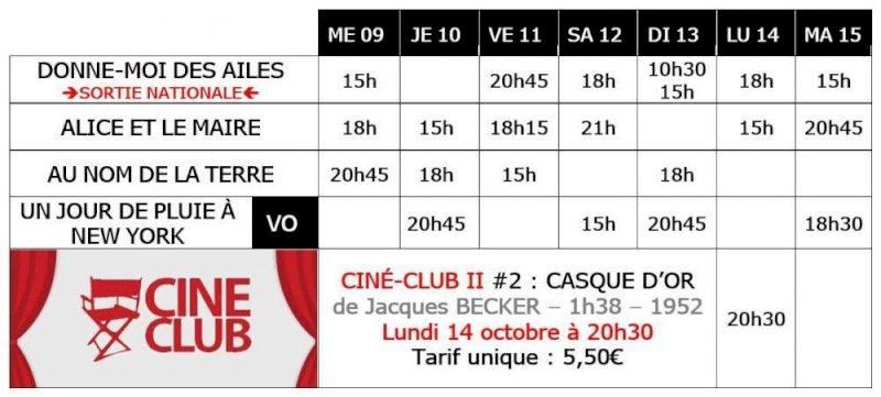 Du 9 au 15 octobre au cinéma Saint-Gilles