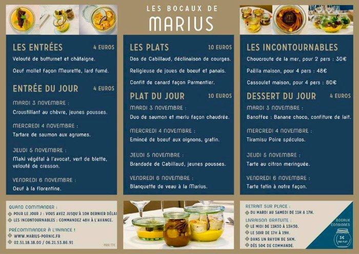 Les bocaux et plats à emporter de Marius