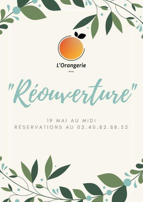REOUVERTURE DU RESTAURANT L'ORANGERIE LE 19 MAI A MIDI EN TERRASSE