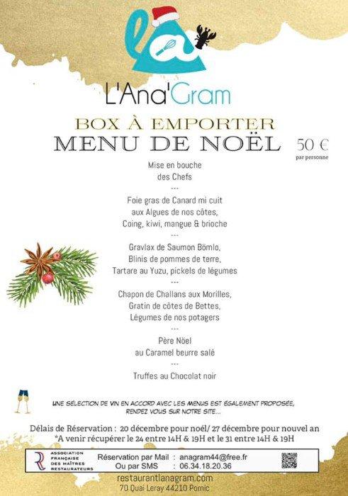 Le menu de Noël de l'Ana'gram en vente à emporter