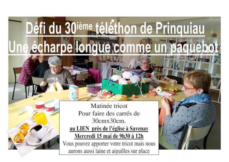 Atelier tricot pour l'écharpe du 30ème téléthon de Prinquiau