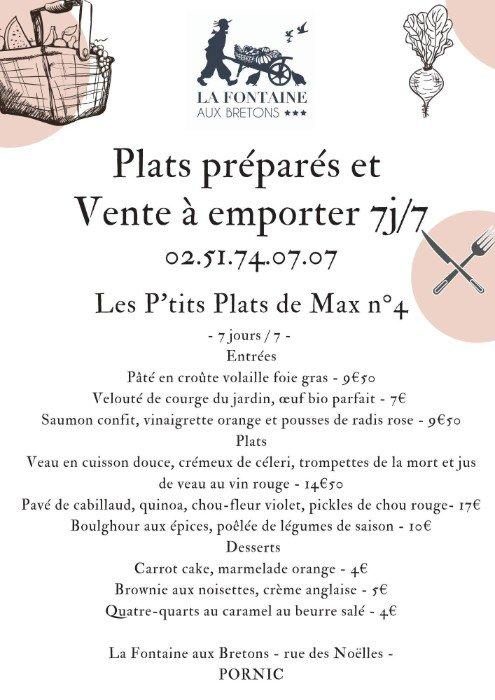 Les menus de Max de La Fontaine aux bretons