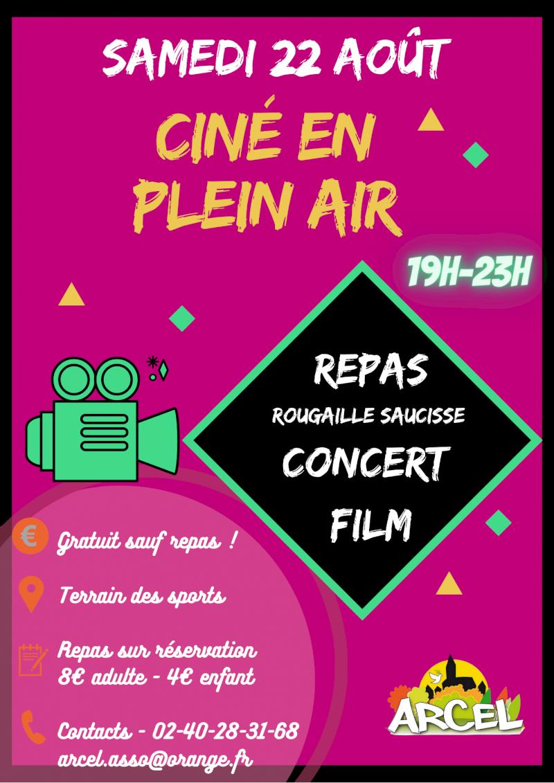 Cinéma plein air à Saint-Aubin-des-Châteaux, avec repas et concert