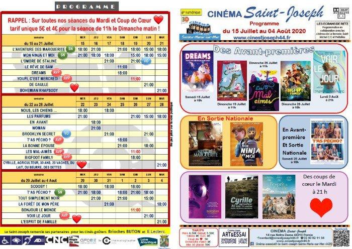 Programme du cinéma Saint Joseph de Pornic Sainte-Marie du 15 juillet au 4 août 2020