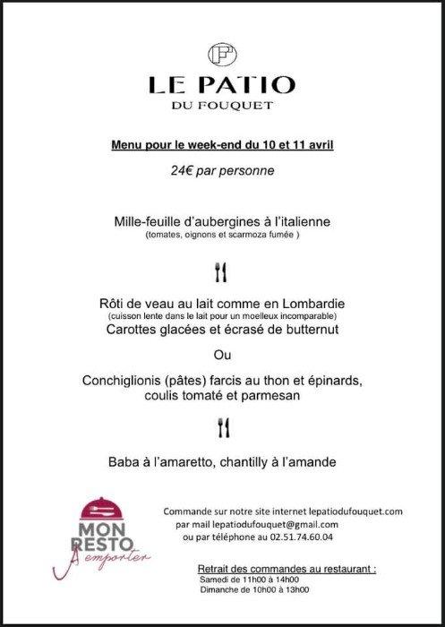 Le menu de weekend u restaurant Le Patio du Fouquet