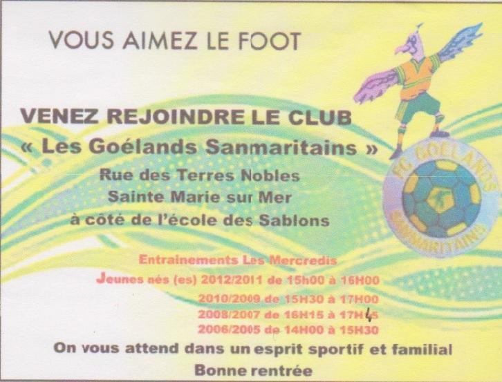 """Vous aimez le foot, venez rejoindre le club """"Les Goélands sanmaritains"""""""