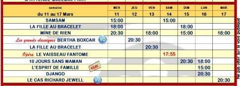 Programme sur le grand écran du Saint Joseph du 11/03/2020 au 17/03/ 2020