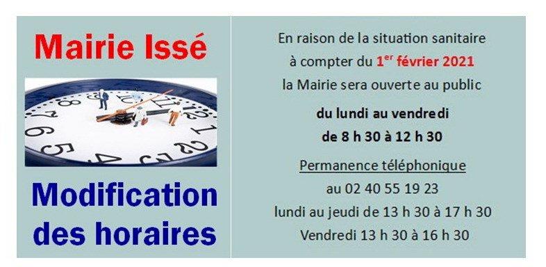 Modification des horaires de la Mairie