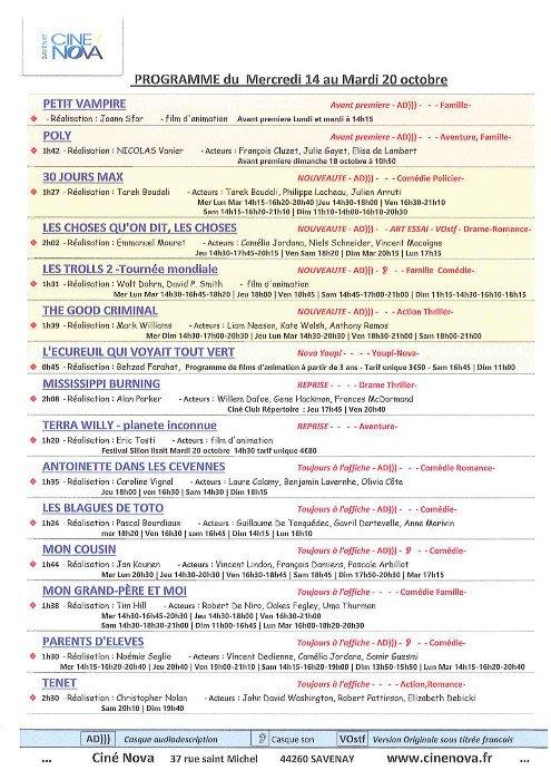Programme du 14 au 20 octobre