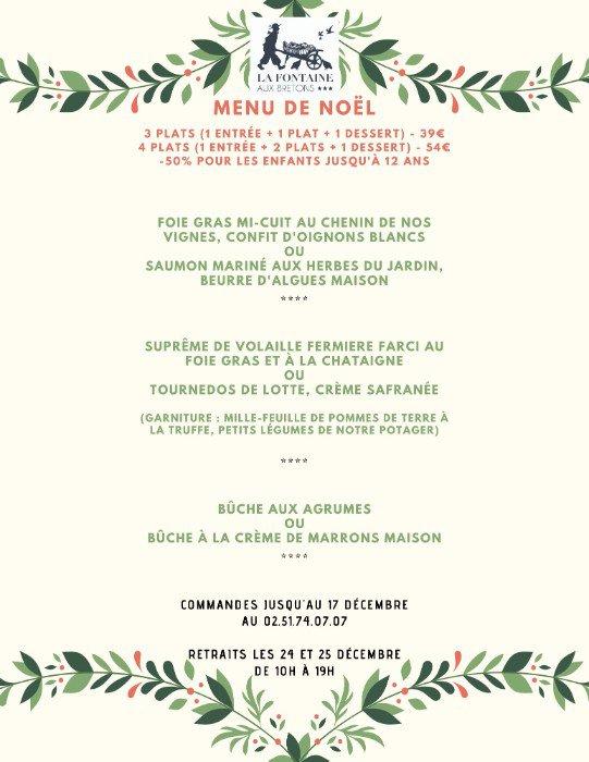 Le menu de Noël en vente à emporter du restaurant de La Fontaine aux bretons à Pornic