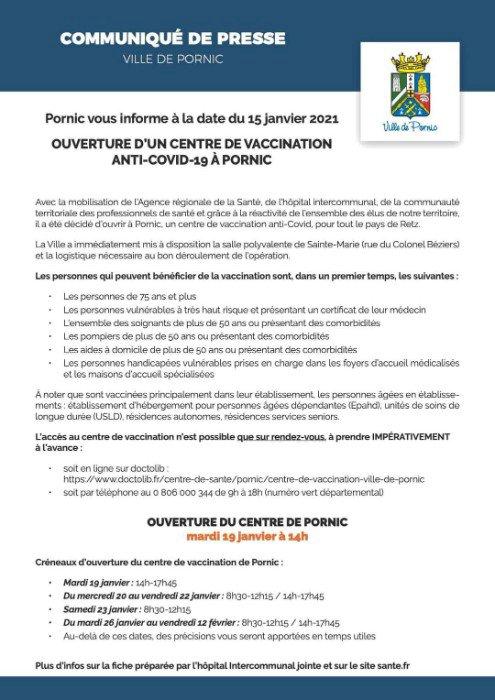Pornic vous informe à la date du 15 janvier 2021 Ouverture d'un centre de vaccination à Pornic