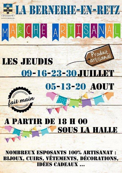 Chaque jeudi soir à 18H00, un marché artisanal sous les Halles de La Bernerie-en-Retz jusqu'au 20 août 2020