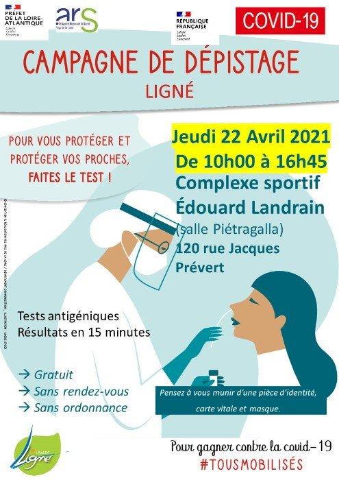 Campagne de dépistage COVID-19 à Ligné jeudi 22 avril