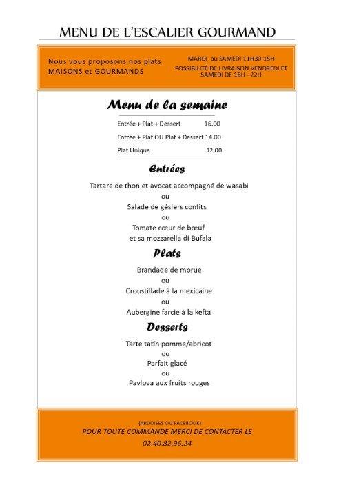 Les menus de vente à emporter de L'escalier gourmand