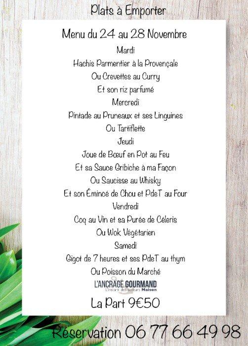 La carte des plats à emporter de l'Ancrage gourmand du 24 au 28 novembre 2020