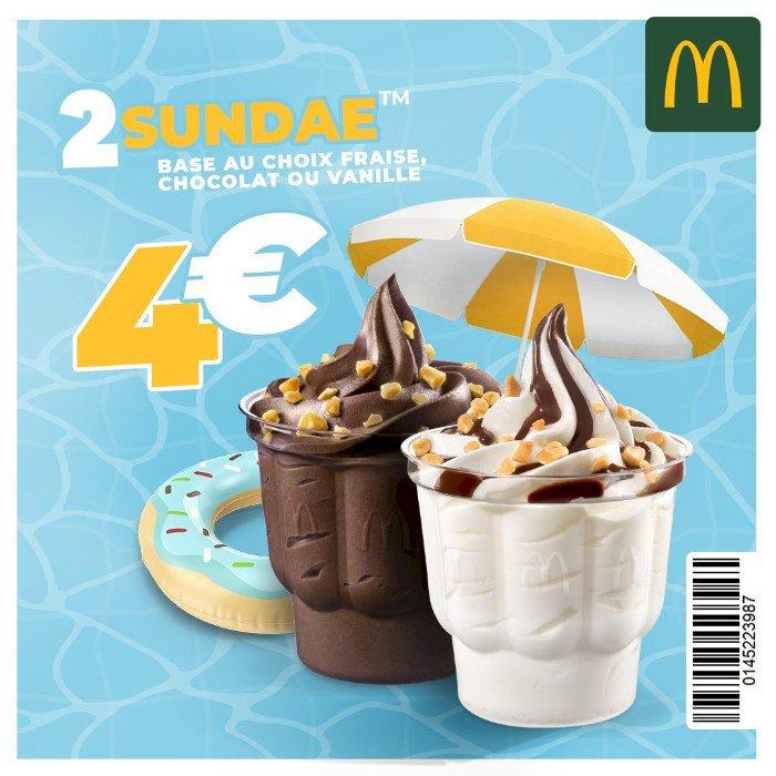 Une promo raffraîchissante ! 2 sundaes pour 4€ seulement !