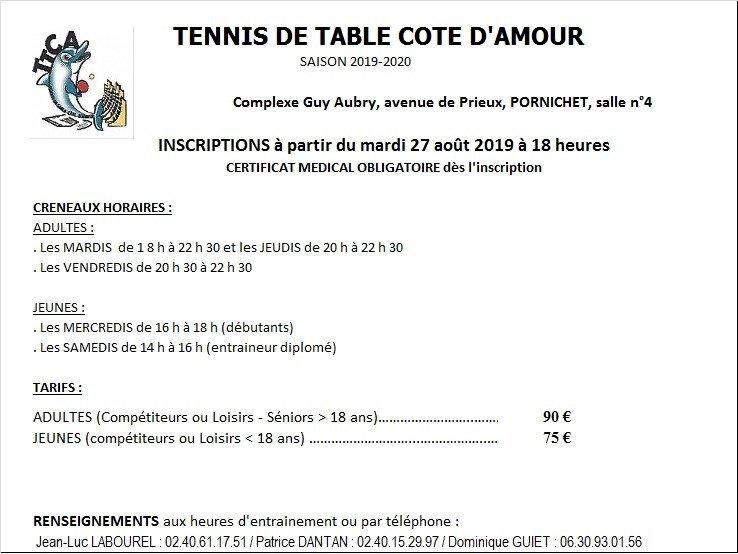 Inscriptions Tennis de table Côte d'Amour
