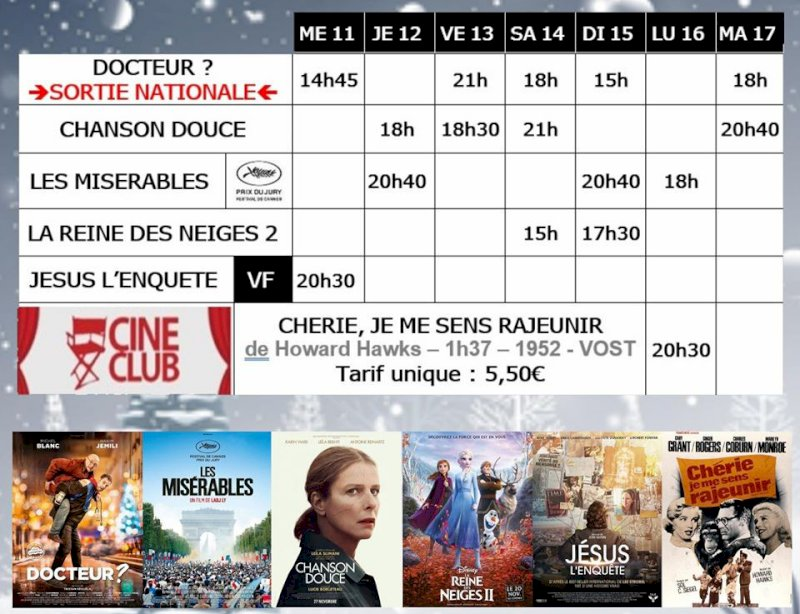 Programme du cinéma Saint Gilles de Pornic du 11 au 17 décembre 2019