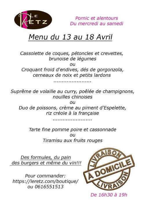 Les menus de la semaine du restaurant Le Retz