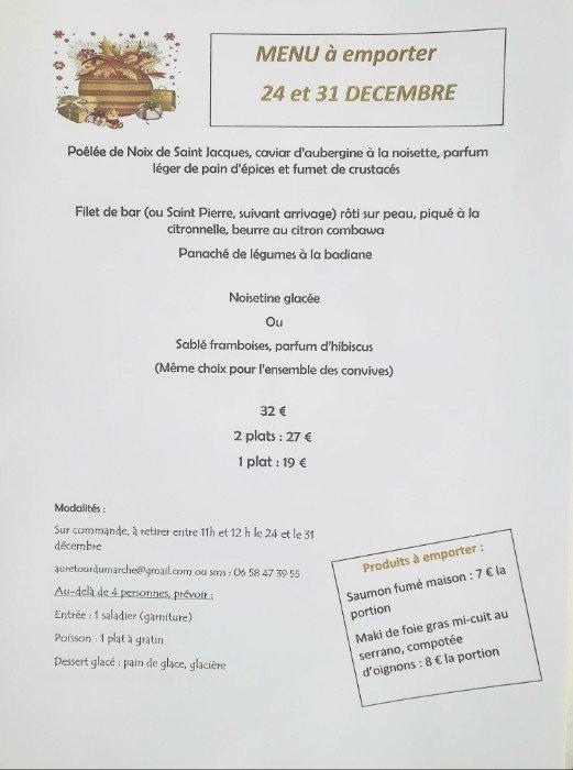 Le restaurant Au retour du marché vous propose son menu de fêtes, en vente à emporter