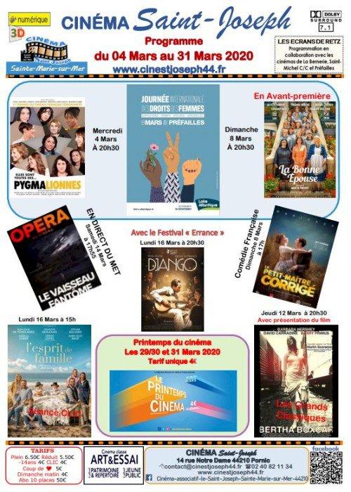 Programme du 04 mars au 31 mars 2020 du Cinéma Saint Joseph