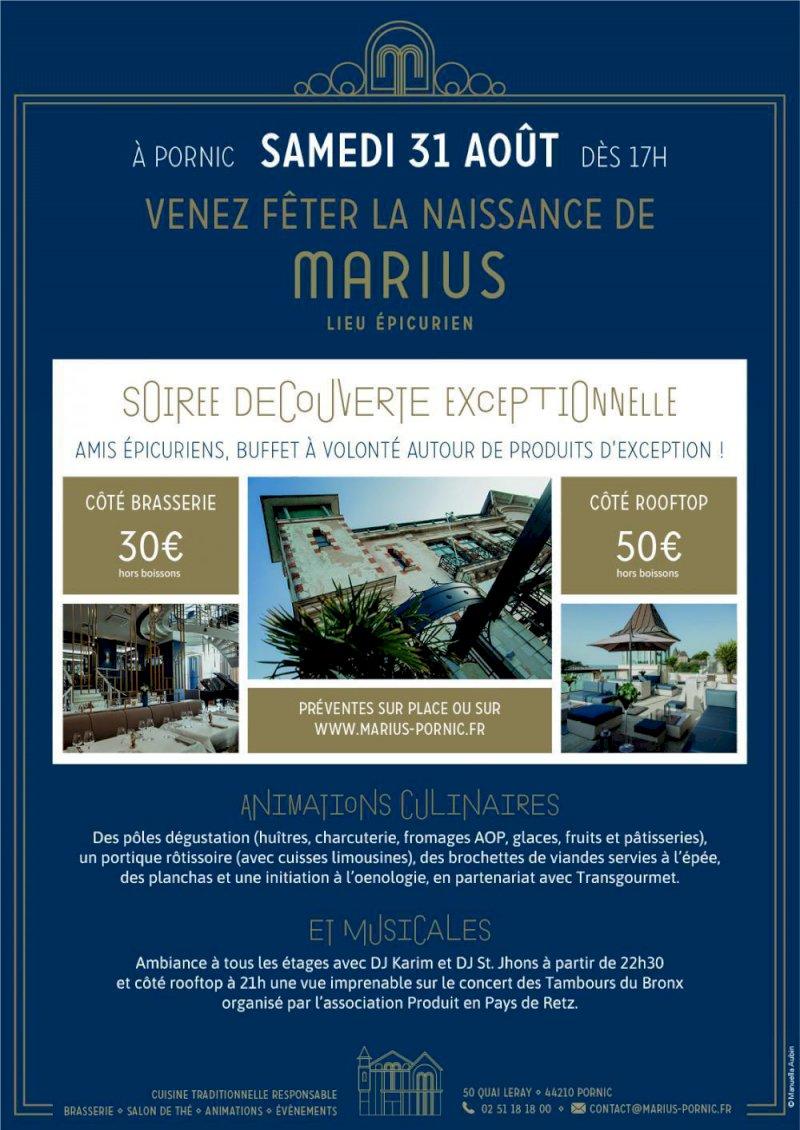 Venez fêter la naissance de Marius le samedi 31 aout à partir de 17h - Marius - Restaurant Pornic